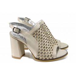 Екстравагантни дамски сандали от естествена кожа МИ 911-130 бежов | Дамски сандали на ток