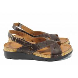 Анатомични дамски сандали изцяло от естествена кожа КА 1248-523 кафяв   Равни дамски сандали