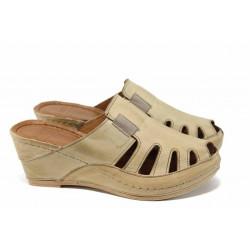 Дамски ортопедични чехли /тип сабо/ от естествена кожа КА 1513-506 бежов   Дамски чехли на платформа