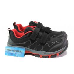 Детски водоустойчиви маратонки с лепенки АБ 1803 черен-червен | Детски маратонки
