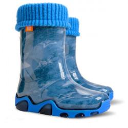Детски ботуши с топъл свалящ се чорап Demar 0033 джинс 28/35 | Гумени ботуши