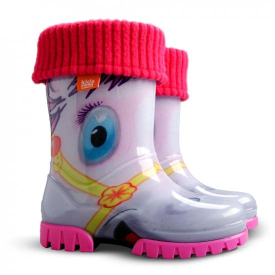 Детски ботуши с топъл свалящ се чорап Demar 0039 пони 28/35   Гумени ботуши