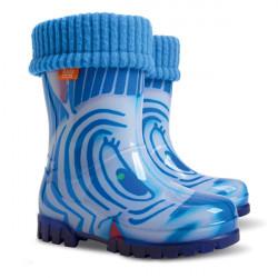 Детски ботуши с топъл свалящ се чорап Demar 0039 синя зебра 28/35 | Гумени ботуши