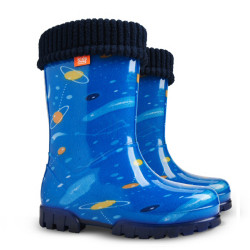 Детски ботуши с топъл свалящ се чорап Demar 0038 космос 20/27 | Гумени ботуши