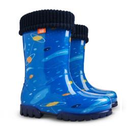 Детски ботуши с топъл свалящ се чорап Demar 0039 космос 28/35 | Гумени ботуши