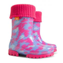 Детски ботуши с топъл свалящ се чорап Demar 0039 розови сърца 28/35 | Гумени ботуши