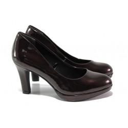 "Елегантни дамски обувки с ""мемори"" пяна Marco Tozzi 2-22421-21 бордо | Немски обувки на ток"
