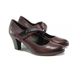 Дамски обувки от естествена кожа Jana 8-24302-21 бордо | Немски обувки на ток