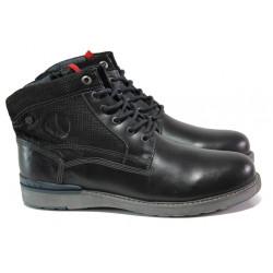 Мъжки боти от естествена кожа с каучуково ходило S.Oliver 5-15227-21 черен | Немски мъжки обувки
