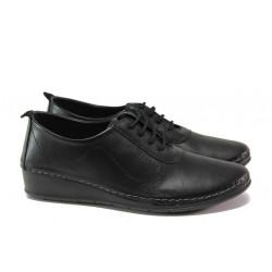 Анатомични дамски обувки от естествена кожа МИ 201 черен | Равни дамски обувки