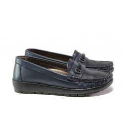 Дамски ортопедични мокасини от естествена кожа МИ 2473 син | Равни дамски обувки
