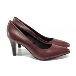 Елегантни дамски обувки от естествена кожа S.Oliver 5-22432-21 бордо | Немски обувки на ток