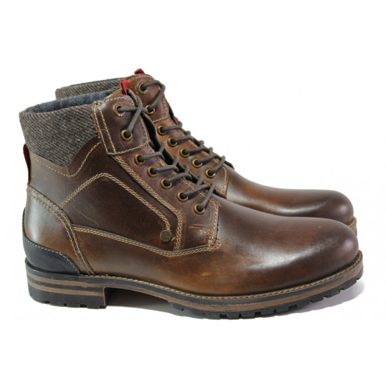 Мъжки боти от естествена кожа с комфортно ходило S.Oliver 5-15220-21 кафяв | Немски мъжки обувки
