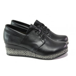 Анатомични български обувки от естествена кожа НЛ 292-18206 черен | Дамски обувки на платформа