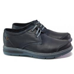 Анатомични български обувки от естествена кожа МЙ 83269 син | Мъжки ежедневни обувки