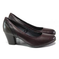 Комфортни дамски обувки от естествена кожа Jana 8-22441-21 бордо | Немски обувки на ток