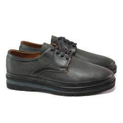 Мъжки ортопедични обувки от естествена кожа МИ 2258 черен | Мъжки ежедневни обувки