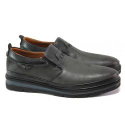 Мъжки ортопедични обувки от естествена кожа МИ 2260 черен | Мъжки ежедневни обувки