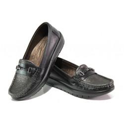 Дамски ортопедични мокасини от естествена кожа МИ 2473 черен | Равни дамски обувки