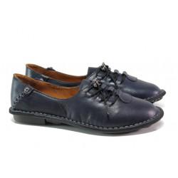 Дамски ортопедични обувки от естествена кожа МИ 118 син | Равни дамски обувки