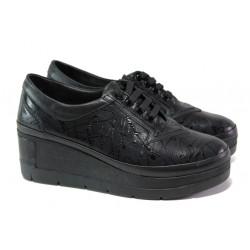 Анатомични дамски обувки от естествена кожа МИ 808-898 черен   Дамски обувки на платформа
