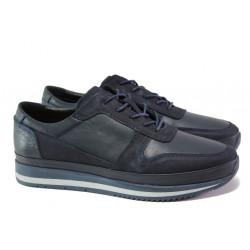 Мъжки ортопедични обувки от естествена кожа ФЯ 231 син | Мъжки ежедневни обувки