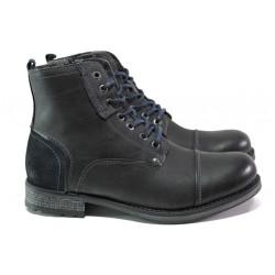 Мъжки боти от естествена кожа с вълнен хастар S.Oliver 5-16222-21 черен | Немски мъжки обувки