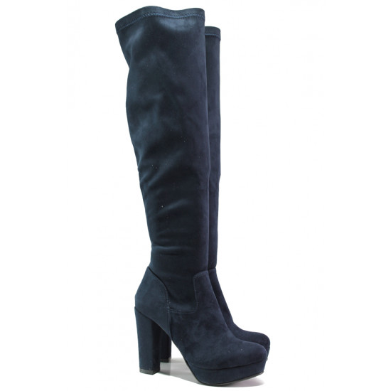Дамски ботуши от естествен велур тип чизми МИ 160-1 син | Дамски ботуши