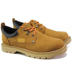 Анатомични мъжки обувки от естествен набук МИ 034 жълт-2018 | Мъжки ежедневни обувки