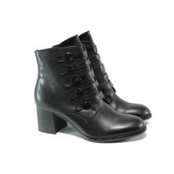 Елегантни дамски боти от естествена кожа S.Oliver 5-25349-21 черен | Немски боти на ток