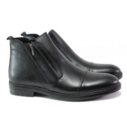 Комфортни мъжки боти от естествена кожа МИ 02 черен | Мъжки боти с топъл хастар