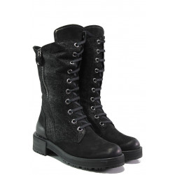 Дамски боти от естествен набук МИ 3006 черен | Дамски боти с топъл хастар