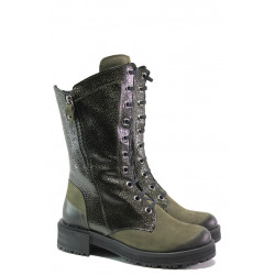 Дамски боти от естествен набук МИ 3006 зелен | Дамски боти с топъл хастар
