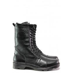 Комфортни боти от естествена кожа МИ 743 черен | Боти с топъл хастар