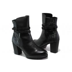 Елегантни дамски боти от естествена кожа Caprice 9-25427-21 черен | Немски боти на ток