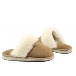 Български домашни чехли от естествена агнешка кожа М 150 бежов | Дамски чехли и пантофи