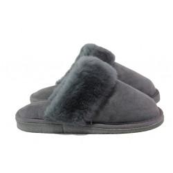 Български домашни чехли от естествена агнешка кожа М 150 сив | Дамски чехли и пантофи