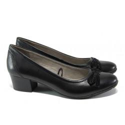 Анатомични дамски обувки от естествена кожа за Н крак Jana 8-22309-22 черен | Немски обувки на среден ток