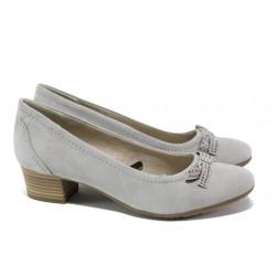Анатомични дамски обувки от естествен велур за Н крак Jana 8-22309-22 св.сив | Немски обувки на среден ток