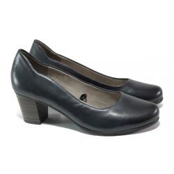 Дамски обувки от естествена кожа за Н крак Jana 8-22404-22 син | Немски обувки на среден ток