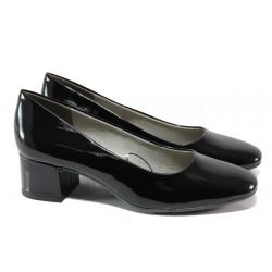 Дамски лачени обувки на среден ток Jana 8-22302-22G черен лак | Немски обувки на ток