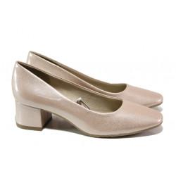 Дамски лачени обувки на среден ток Jana 8-22302-22G розов лак | Немски обувки на ток