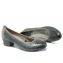 Дамски обувки от естествена кожа Jana 8-22306-22H т.син | Немски обувки на ток