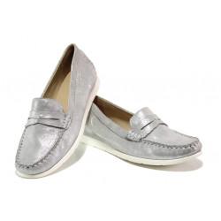 Дамски мокасини от естествена кожа Caprice 9-24251-22 сребро | Немски равни обувки