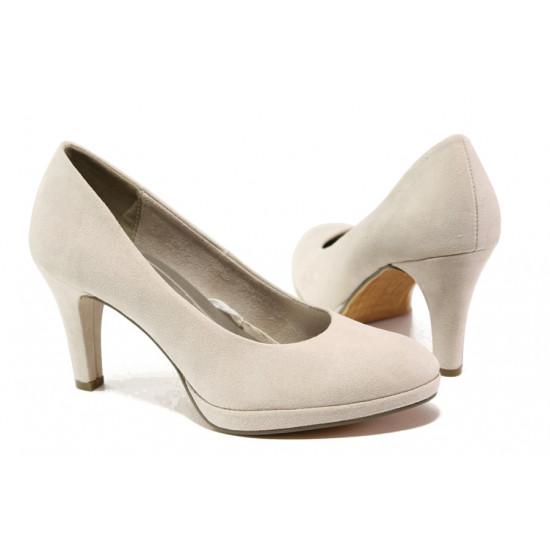 Анатомични дамски велурени обувки Marco Tozzi 2-22404-22 бежов   Немски обувки на ток
