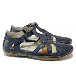 Анатомични дамски обувки от естествена кожа Jana 8-28130-22H син | Равни немски обувки