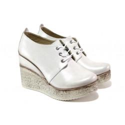 Комфортни дамски обувки от естествена кожа МИ 448-254 сребро | Дамски обувки на платформа