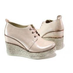 Комфортни дамски обувки от естествена кожа МИ 448-254 розов сатен | Дамски обувки на платформа