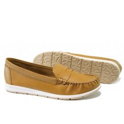 Анатомични дамски мокасини от естествена кожа Marco Tozzi 2-24601-32 горчица | Немски равни обувки