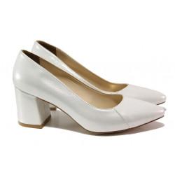 Елегантни дамски обувки ФА 400 сребро | Дамски обувки на среден ток